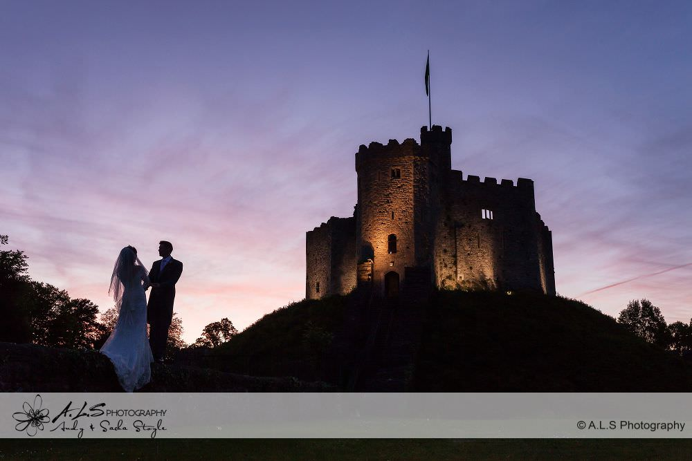 Cardiff Castle Wedding Sunset