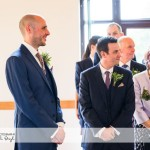 wedding photographer cardiff - canada lodge lake groom first look