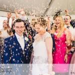 wedding photographer cardiff - oxwich bay hotel confetti